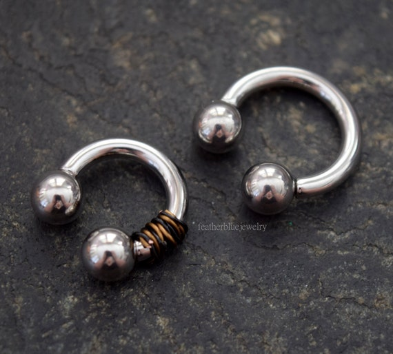 "Horseshoe Heavy 0 Gauge 1//2/"" Steel Internal Thread 10mm Balls Body Jewelry"