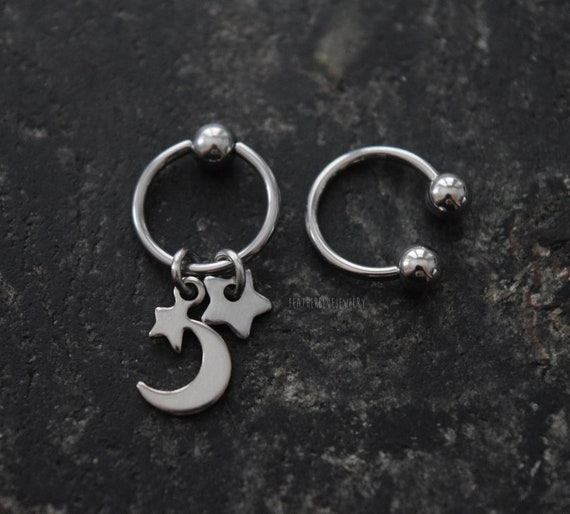 A single moon star fake plug earring stud piercing 18g US SELLER