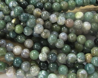 """Moss Agate Beads, 6mm Natural Moss Agate Beads, 16"""" inch Strand, Green Agate Beads, 6mm Green Beads, Beading Supplies, Item 657pm"""