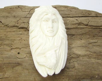 Wolf Pendant, Carved Indian/Wolf Pendant, 60x30mm Native Bone Pendant, Hand Carved Spirit Wolf Pendant, Item 1561p