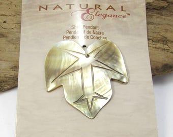 Leaf Pendant, Two (2) Carved Black Lip Shell Leaf Pendants, 43x41mm Carved Leaf, Necklace Pendant, Item 1251m