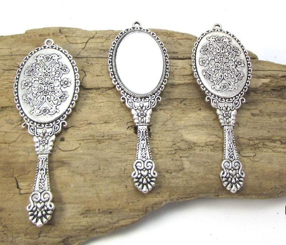 Mirror Pendant Necklace Pendant Hand Mirror Pendant 70x26mm Antiqued Brass Miniature Hand Mirror Pendant Item 1082m