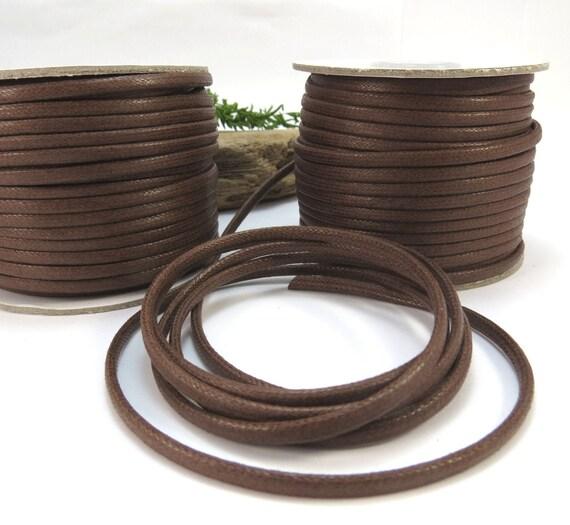 Flat cotton cord waxed 1,3,5,10,25 yards macrame cotton flat cord waxed 3mm cotton flat cord waxed size 3.0mm 3mm waxed flat cotton cord