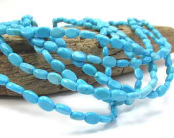 """Magnesite Beads, Turquoise Blue 6x4mm Oval Magnesite Beads, 16"""" inch Strand, Necklace Supplies, Beading Supplies, Item 256gss"""