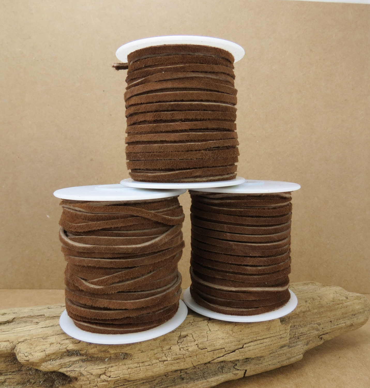 2 Yards brown waxed cord 3mm jewelry supplies