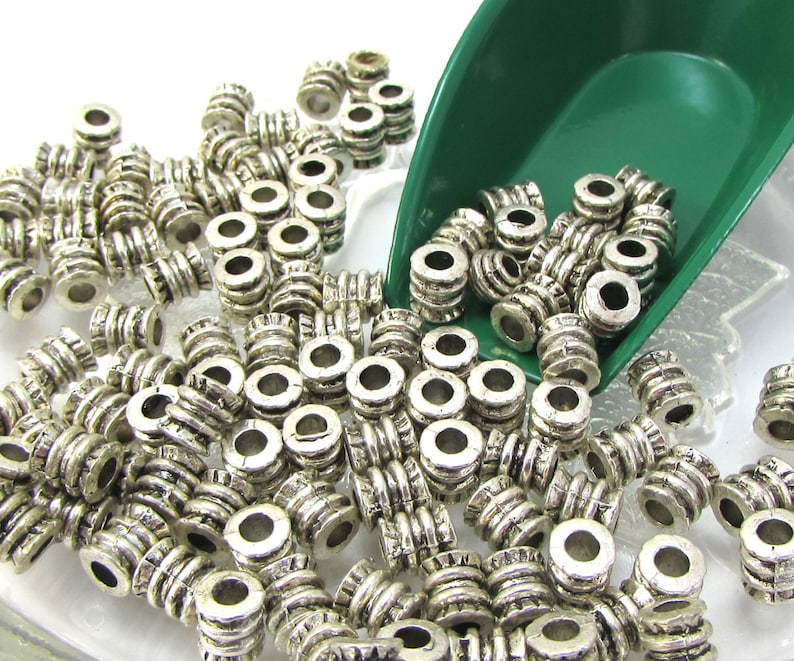 Jewelry Supplies 6x5mm Ribbed Round Tube with 3mm Hole Item 1260m Metal Spacer Beads Twenty 20 Spacer Beads Antique Silver Tube Beads