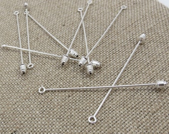 Brooch Pins, Silver Stick Pin, Ten (10) Silver Plated Brass Brooch Pins, Silver Brooch Pins, Jewelry Supplies, Craft Supplies, Item 243m