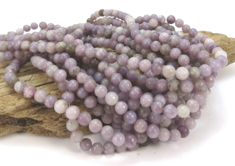 Lilac Stone 6mm Purple Lilac Beads Natural Multi-Colored image 1