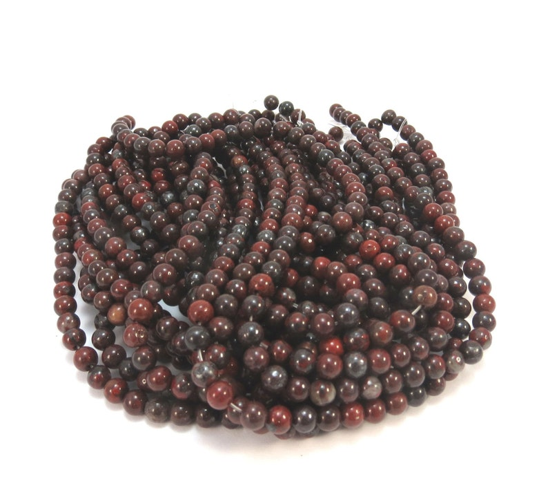 Natural 4mm Jasper Beads 4mm Red and Black Beads Brecciated Jasper Beads 16 inch Strand Beading Supplies Item 631pm
