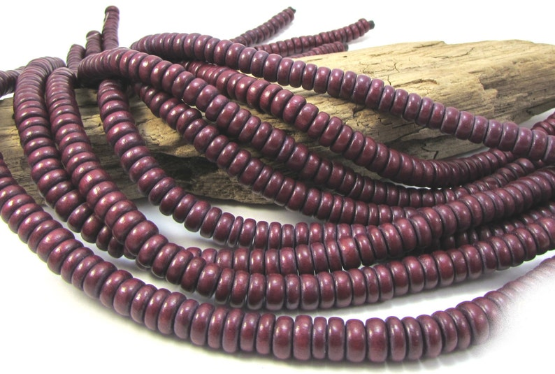 Beading Supplies Item 1088wb Dark Brown 8x4mm Rondelle Wood Beads 16 inch Strands 2 Two Brown Wood Beads 8mm Brown Wood Beads