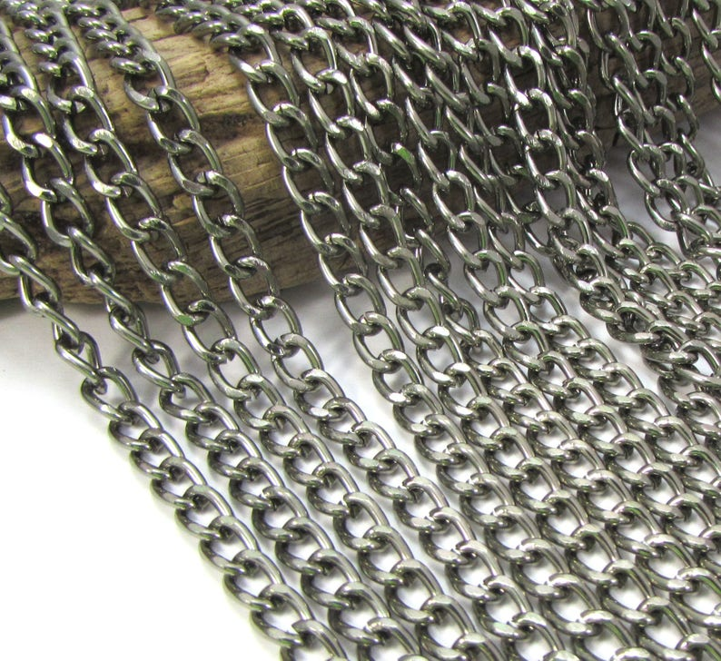 Gunmetal Finished Curb Chain 25/' feet Necklace Chain 5x8mm Curb Chain Anodized Aluminum Chain Jewelry Supplies Item 1348ch