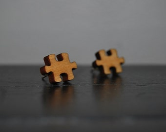 Engraved Wood Puzzle Piece Autism Awareness Earrings with Nickel Free Studs!