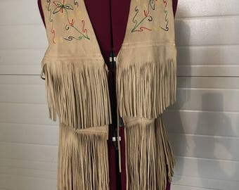 Boho flower Leather fringe vest