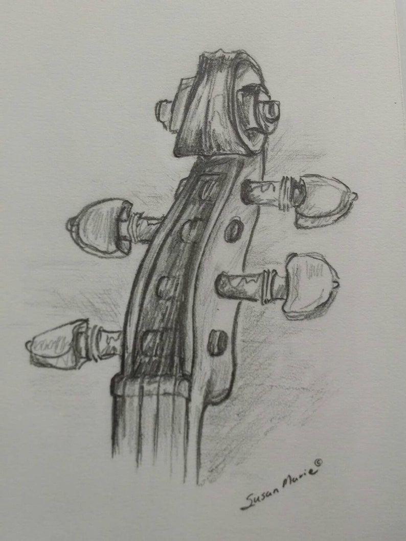 Violin scroll original pencil sketch preliminary sketch etsy