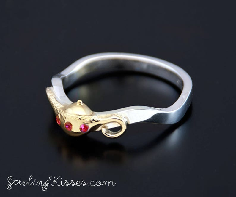 BITCOIN ACCEPTED Magic Lamp Ring with Genuine Rubies or Diamonds in Sterling Silver and Gold Plated