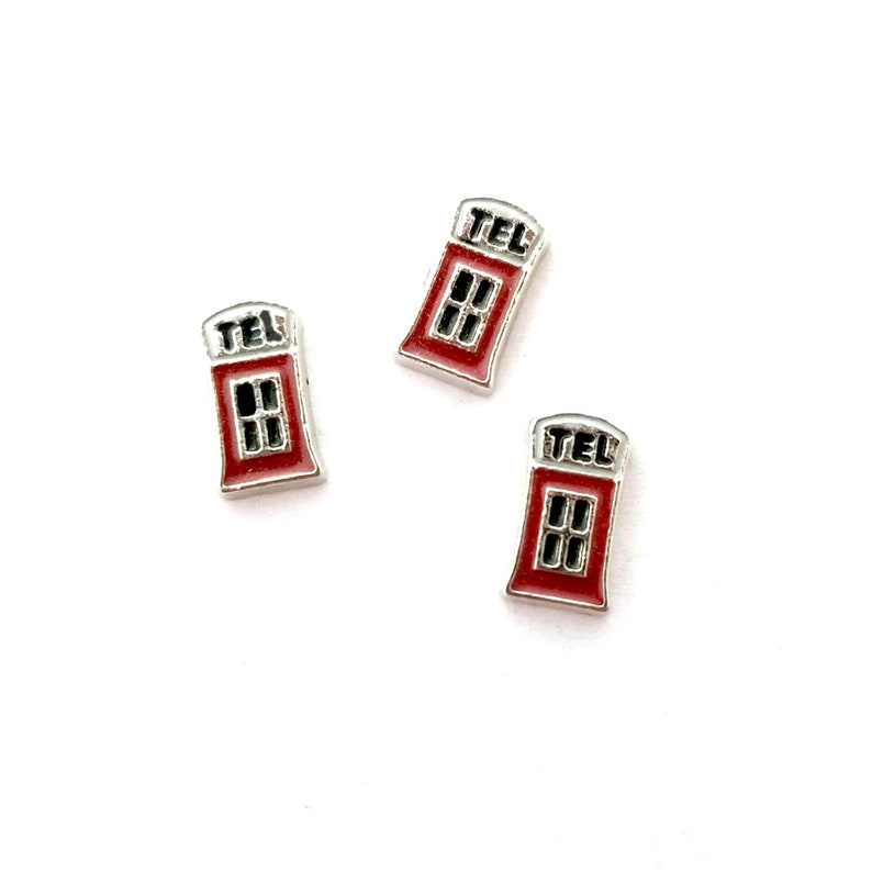 Phone Booth UK Telephone Floating Charm For Glass Memory Locket Necklaces