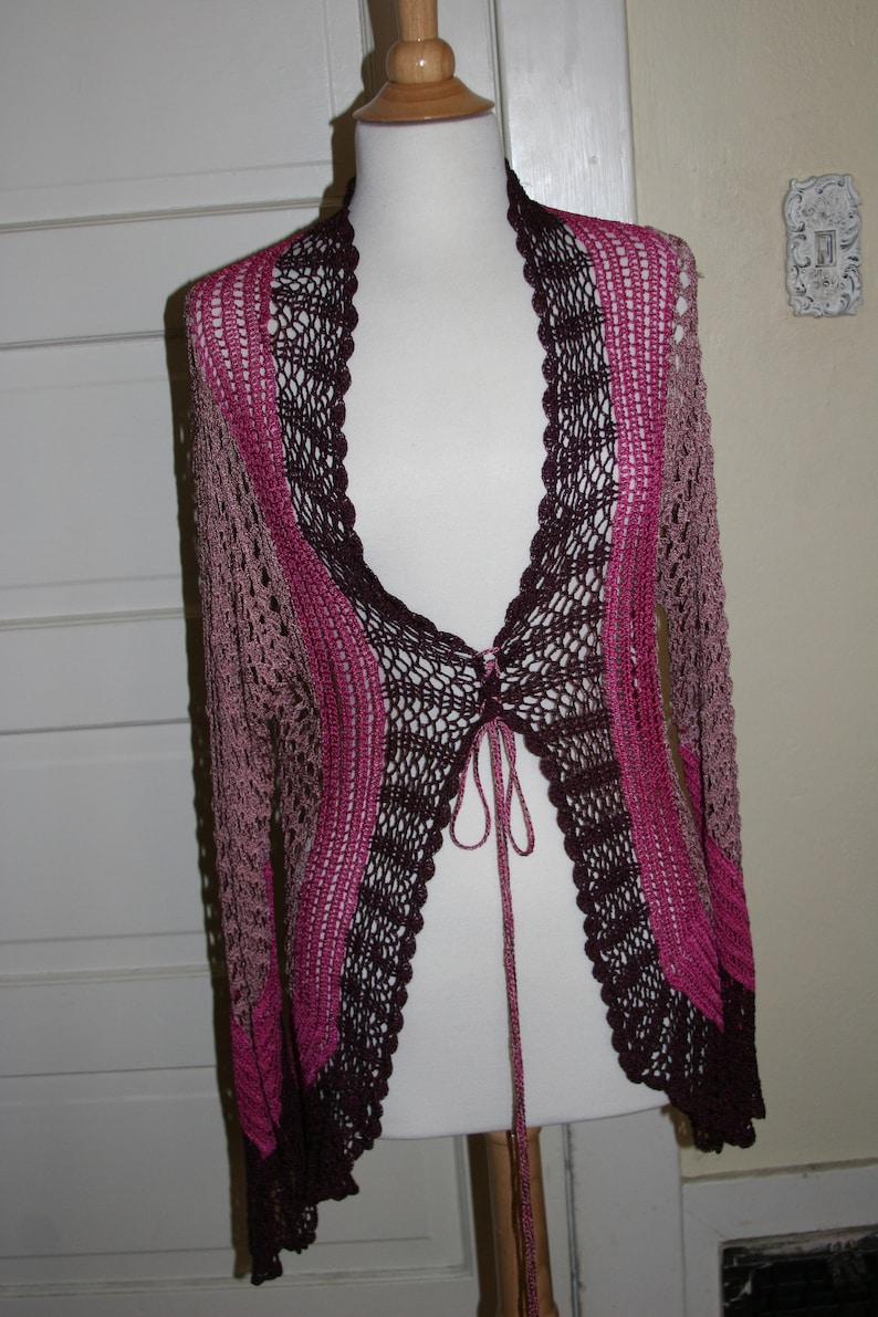 Vintage Diane Von Furstenberg Pink and Burgundy Crochet Lace-up Cardigan ML