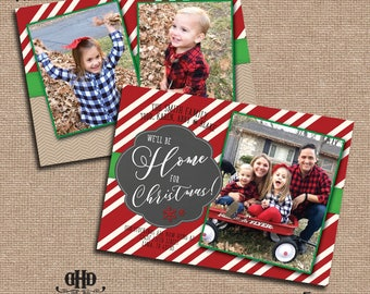 CUSTOM Christmas/Holiday Card - New Home for Christmas Red & White Candy Cane Stripes