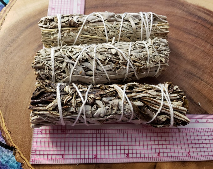 Medium Yerba Santa, White and Blue (Shasta) Sage bundle 4-5 inches, wild harvested, Reiki infused