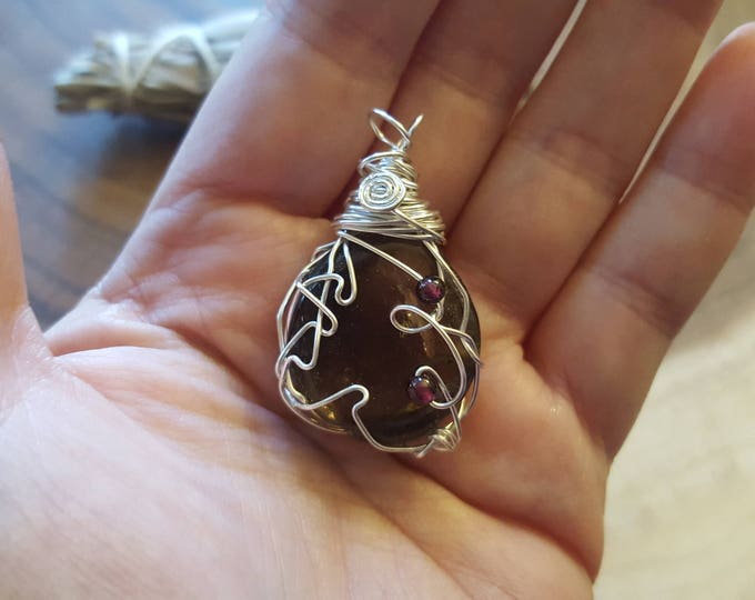 Smoky Quartz w/Garnet beads silver plated wire wrapped pendant, Reiki infused approx 1.6x1 inches (WW23)