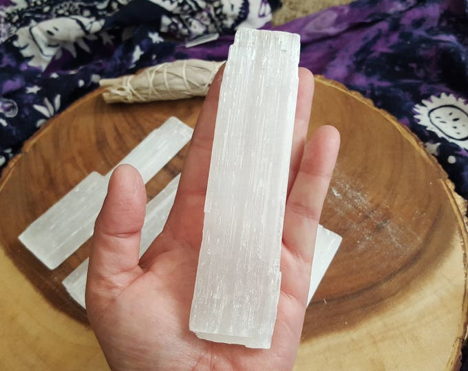Selenite base for charging crystals, flat wand ~ 1 Reiki infused 5x1.5 inch (approximately) rough stick (wand)