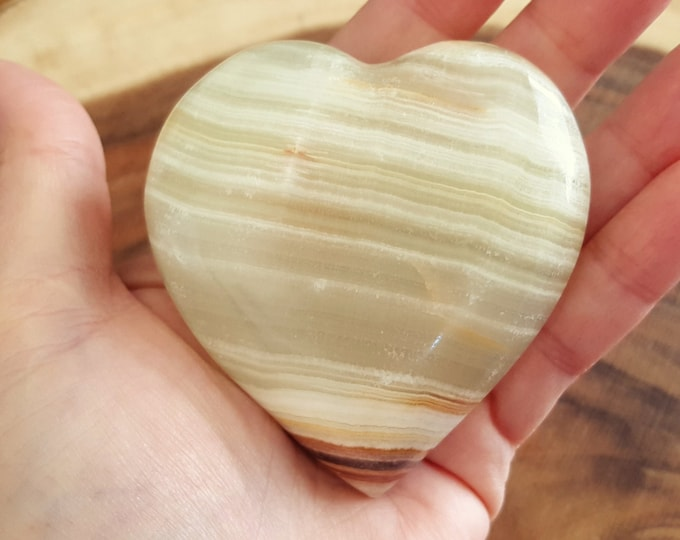 Pakistani Onyx Heart ~ One Reiki Infused gemstone heart approx 3 x 3 inches (PH18)