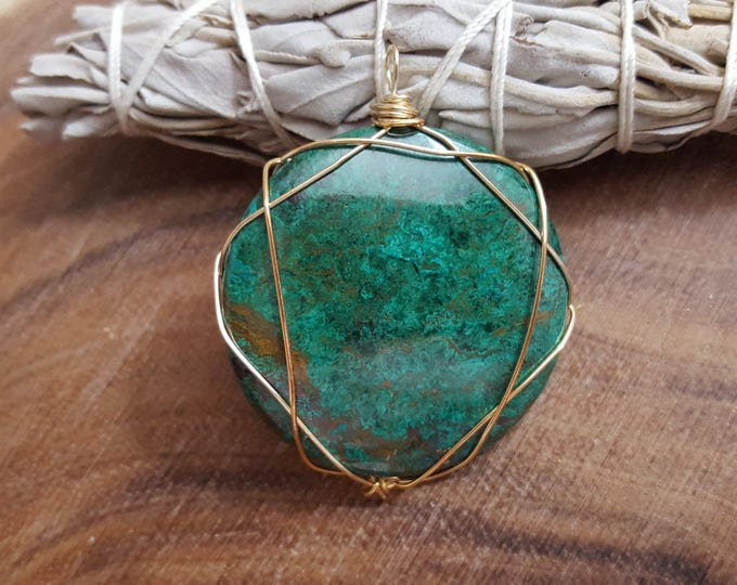 Chrysacolla with Malachite wire wrapped pendant, Reiki infused (WW10)