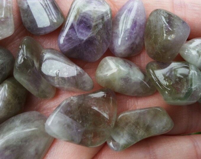 Prasiolite (Amegreen) ~ Green and Purple Amethyst ~ 1 small Reiki infused tumbled crystal approx .5-.75 inch