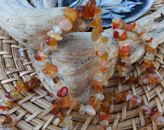 Carnelian stretchy bracelets ~ 1 Reiki infused gemstone chip bead bracelet approx 7 inches