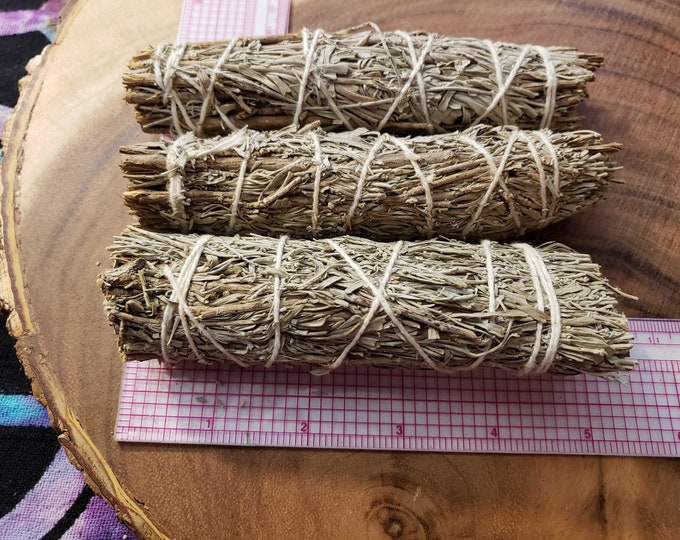 Medium Mountain Sage with Palo Santo (Calamus Draco & Burseara Graveolens) Bundle approximately 5 inches, wild harvested, Reiki infused
