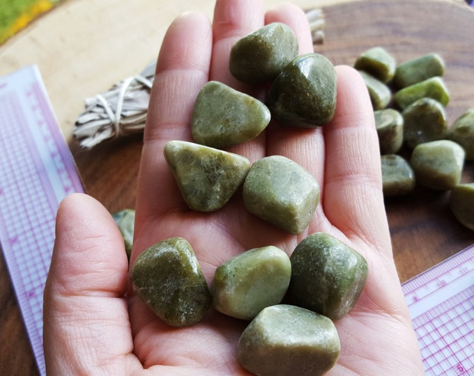 Vesuvianite (Vassonite, Idocrase) ~ 1 Medium Reiki infused tumbled stone approx 3/4 - 7/8 inch