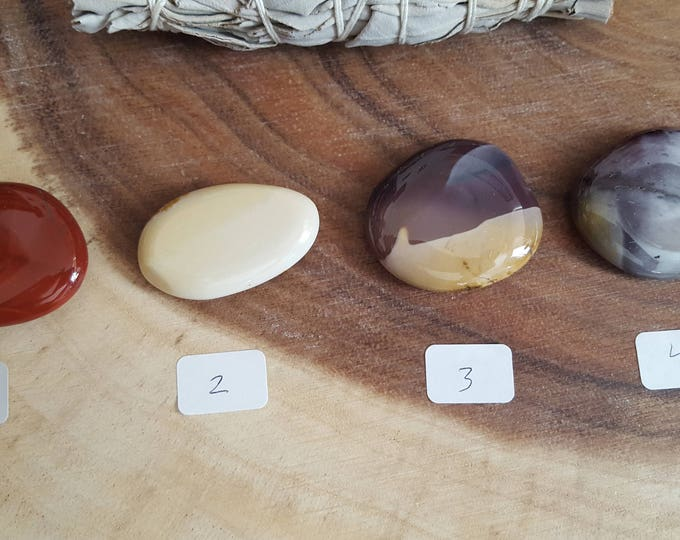Small Mookite Palm Stone, Chakra Stone, Worry Stone, Fidget Stone~1 Reiki infused polished flat crystal, approx 1.5in
