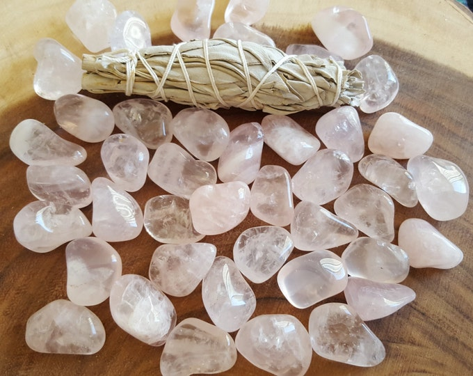 Rose Quartz ~ 1 medium Reiki infused tumbled crystal approx 1 inch