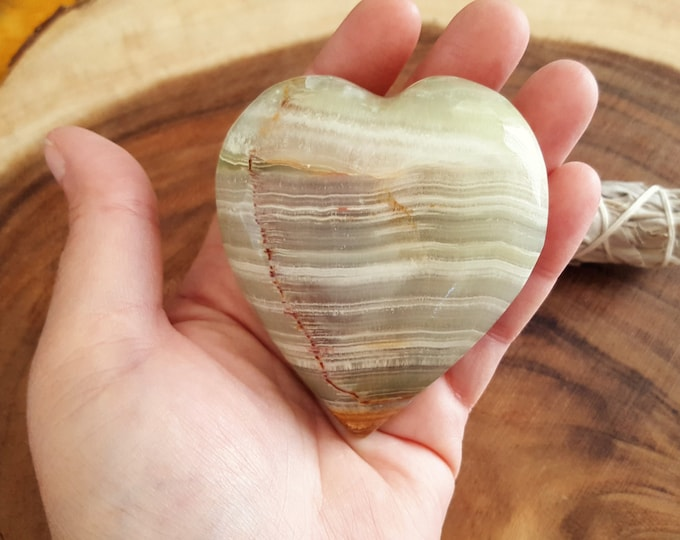 Pakistani Onyx Heart ~ One Reiki Infused gemstone heart approx 3 x 3 inches (PH14)