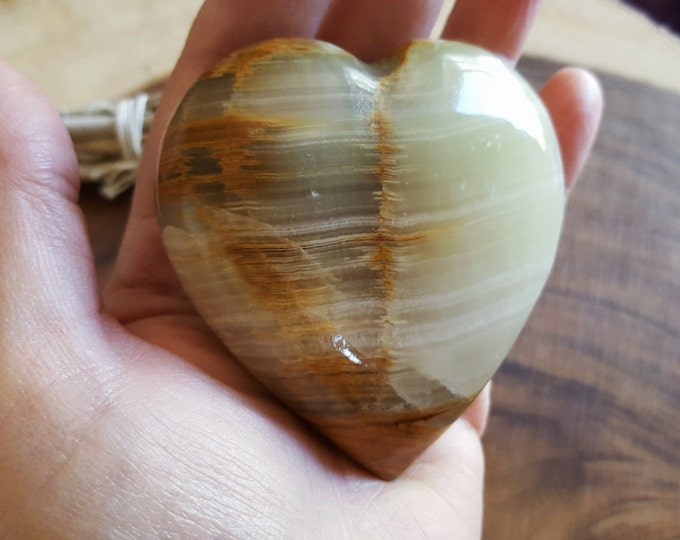 Pakistani Onyx Heart ~ One Reiki Infused gemstone heart approx 3 x 3 inches (H06)