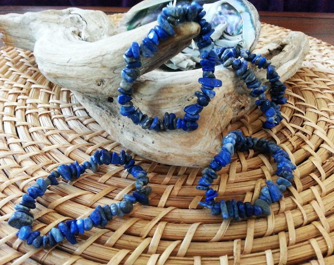 Lapis stretchy bracelet ~ one Reiki infused gemstone chip bead bracelet approx 7 inches