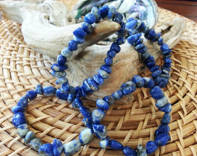 Tumbled Sodalite stretchy bracelet ~ one Reiki infused gemstone bead bracelet approx 8 inches
