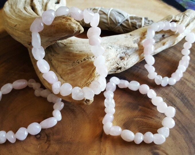 Tumbled Rose Quartz stretchy bracelet ~ One Reiki infused gemstone bead bracelet approx 8 inches