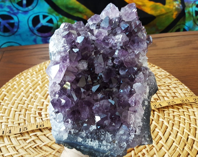 Uruguayan Dark Amethyst cluster extra quality ~ 1 reiki infused cluster approx 7.5 x 5 x 3 inches (E21)