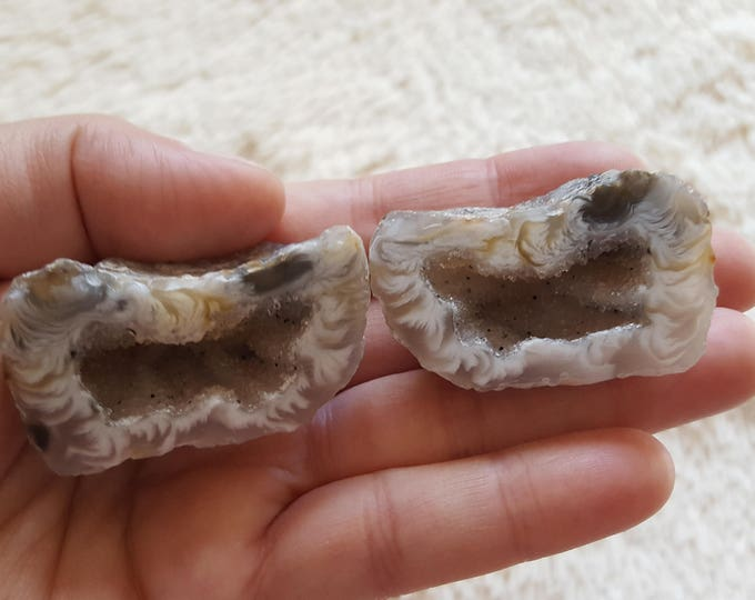 Occo Geode Pair ~ 1 Reiki infused cut and polished geode pair (OGP05)