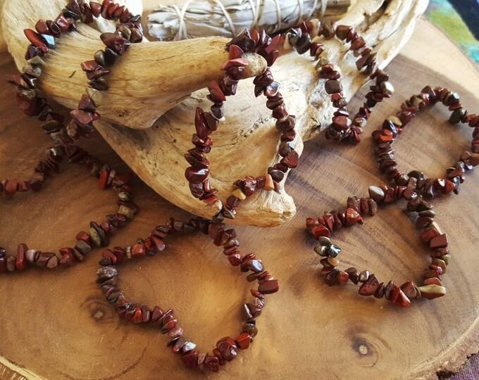 Brecciated & Red Jasper chip bead stretchy bracelet ~ 1 reiki infused gemstone bracelet approx 7 inches