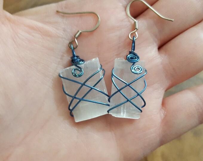 Selenite wire wrapped earrings ~ 1 pair Reiki infused earrings (SE01)