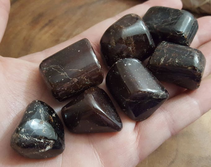 Garnet ~ 1 large Reiki infused tumbled crystal approx 1 inch