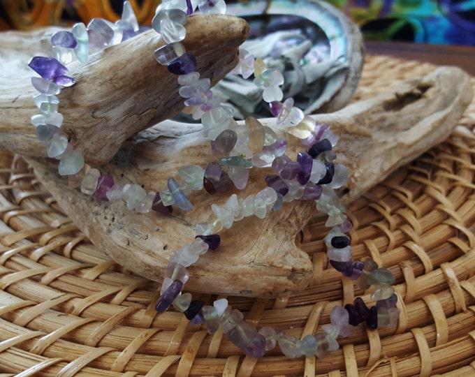 Rainbow Fluorite Stretchy Bracelet ~ One Reiki infused crystal chip bead bracelet approx 7 inches