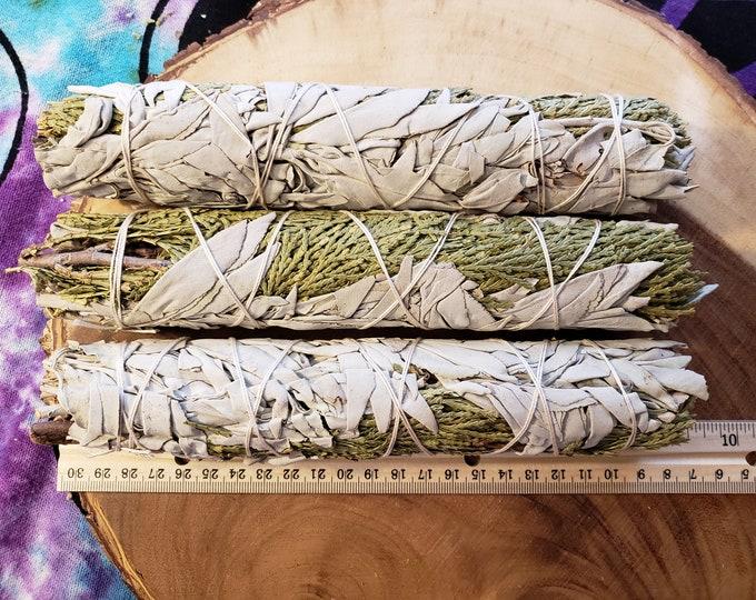 Large California White Sage with Cedar (Salvia Apiana & Cedrus) Bundle 9-10 inches, wild harvested, Reiki infused