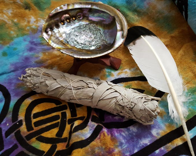 Large White Sage Smudging Kit ~  White Sage (Salvia Apiana) Bundle 9 inches, 5~6 inch abalone shell with 6 inch tripod stand, feather