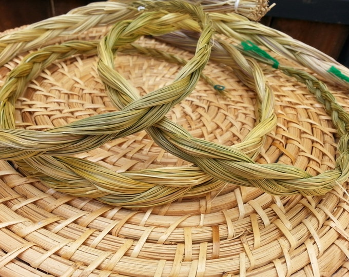 Sweetgrass (Hierochloe odorata) Braid approximately 18 inches, wild harvested, Reiki infused