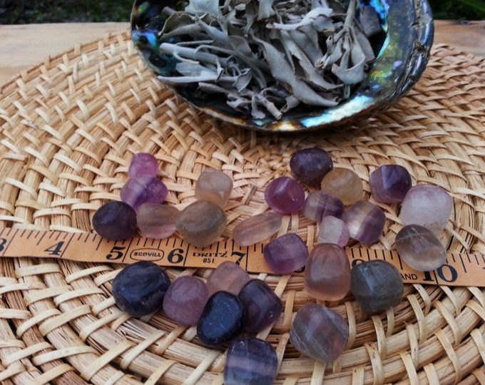Fluorite ~ 1 small/medium B/C grade Reiki infused tumbled crystals