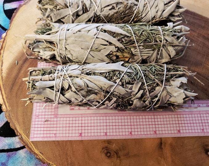 Large Rosemary and White Sage (Salvia Apiana &  Rosmarinus Officinalis) Bundle approximately 6-8 inches, wild harvested, Reiki infused
