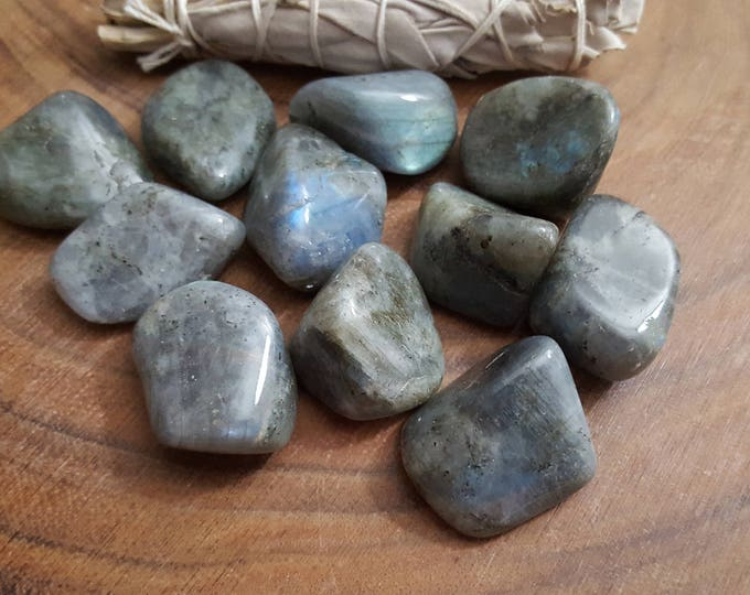 Labradorite ~ 1 Xlarge Reiki infused tumbled crystal 1.4-1.5 inch